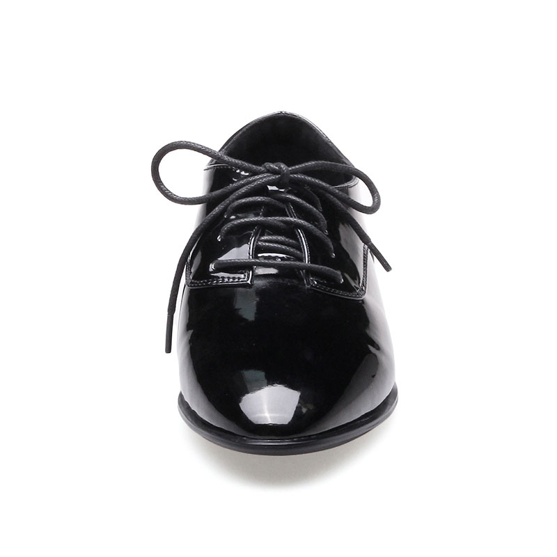 Cuir Lace Appartements Richelieu De Pointu Sport Plat Daitifen Femmes Automne Britannique Bout Verni Style Chaussures Black Talon Up red Printemps En 5qzgxzF