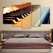 Canvas Wall Art Pictures HD Printed Abstract Painting 5 Panel Piano Keys Vintage Music Instrument Frame Home Decor Room Poster