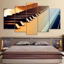 Lienzo pared imágenes artísticas HD impreso pintura abstracta 5 Panel Piano teclas Vintage instrumento de música marco decoración del hogar habitación Póster