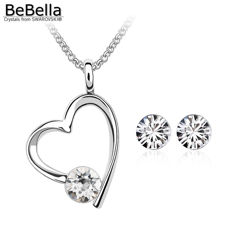 Us 6 19 15 Off Bebella Crystal Heart Necklace Earring Set For Women Made With Swarovski Elements Gift In Jewelry Sets From