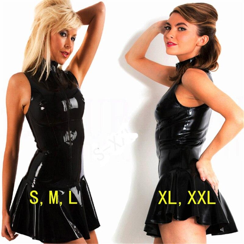 Hot Top Toughness Faux PVC Leather Bondage Mini Dress Sleeveless Ruffles Bodycon Catsuit PU Vinyl Clubwear Dance Fetish Cocktail