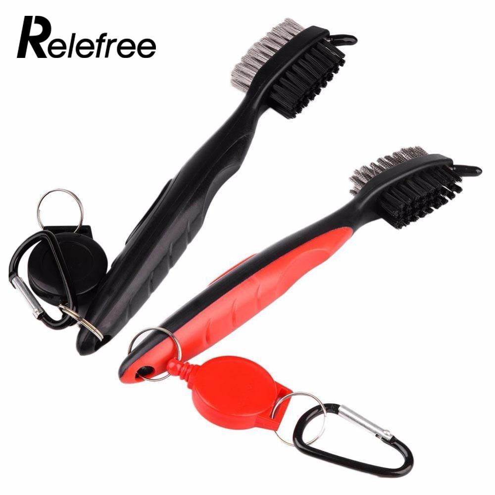 Relefree New Arrivals Sports Groove Cleaning Brush Double-Side With Keychain For Golf Ball Cue Cleaner