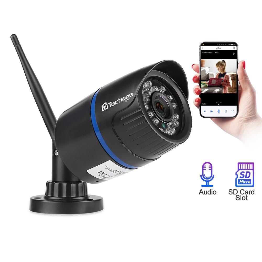 Techage 1080P Wifi Wireless IP Camera Audio Sound SD Card Record 12V1A Outdoor Home Security CCTV Surveillance P2P ICsee XMeye