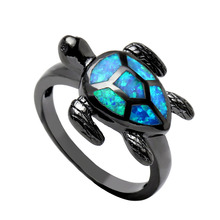 Vnfuru Tortoise Rings For lady Black Fire Opal Ring Jewelry Hot Women Animal finger gift Royal Colorfull Sea Turtle