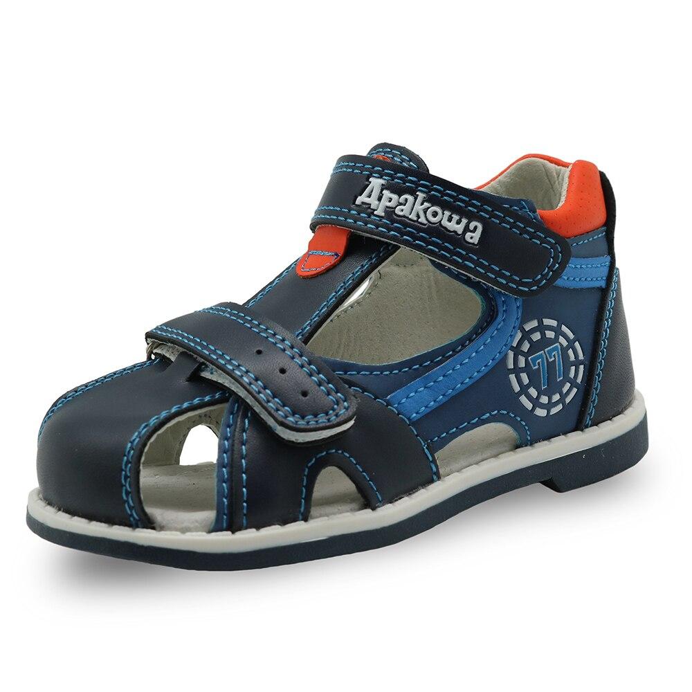 Apakowa 2019 été enfants chaussures marque fermé orteil enfant en bas âge garçons sandales orthopédique sport en cuir pu bébé garçons sandales chaussures