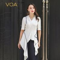 VOA 100% Heavy Silk T Shirt Women V Neck Tee Half Sleeve Ladies Tops White Office Work Clothing Elegant Irregular harajuku B916