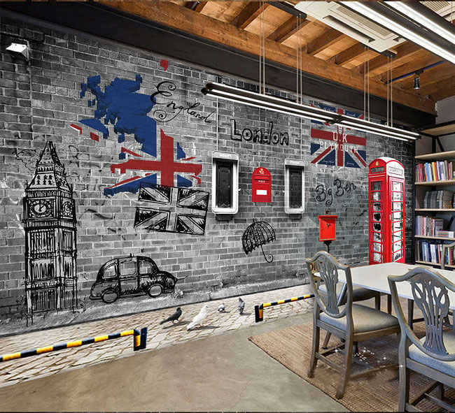 European and American Retro Nostalgia London Phone Booth Cafe Restaurant Large Mural 3D Brick Wallpaper for Living Room Walls 3D