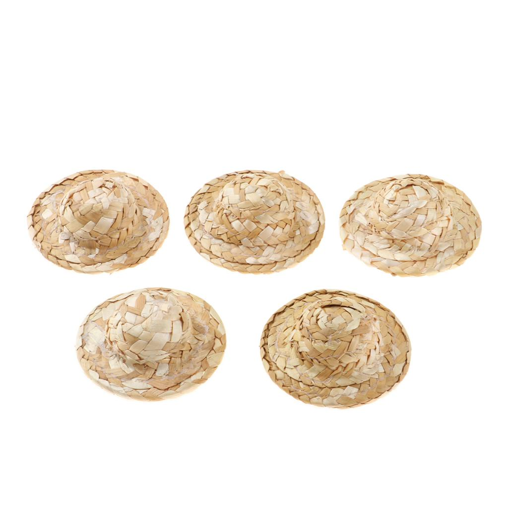 1 Set Handmade Mini Doll Straw Hats Cap Dolls/' Miniatures Supplies Summer Decor