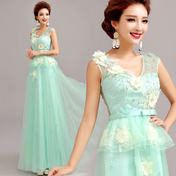 z 2016 new arrival stock maternity plus size bridal gown  evening dress deep v neck long a line flowers Green Lace 518