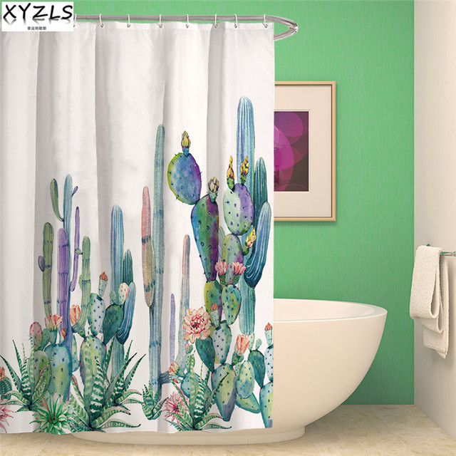 XYZLS Modern Cactus 3D Waterproof Shower Curtain Polyester Bathroom Succulent Plant Curtains Hd Pattern Bath