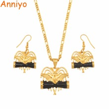 Anniyo Black Drum Bird Paradis Papua New Guinea Necklaces Earrings Ring sets for Women PNG Wedding Jewelry Party Gifts #139906