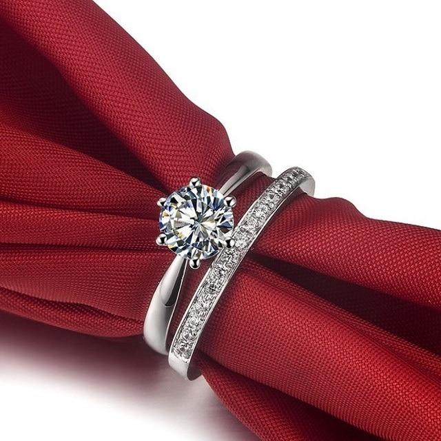 Female Statement Pure 18K White Gold Ring 1CT Female Woman Cute