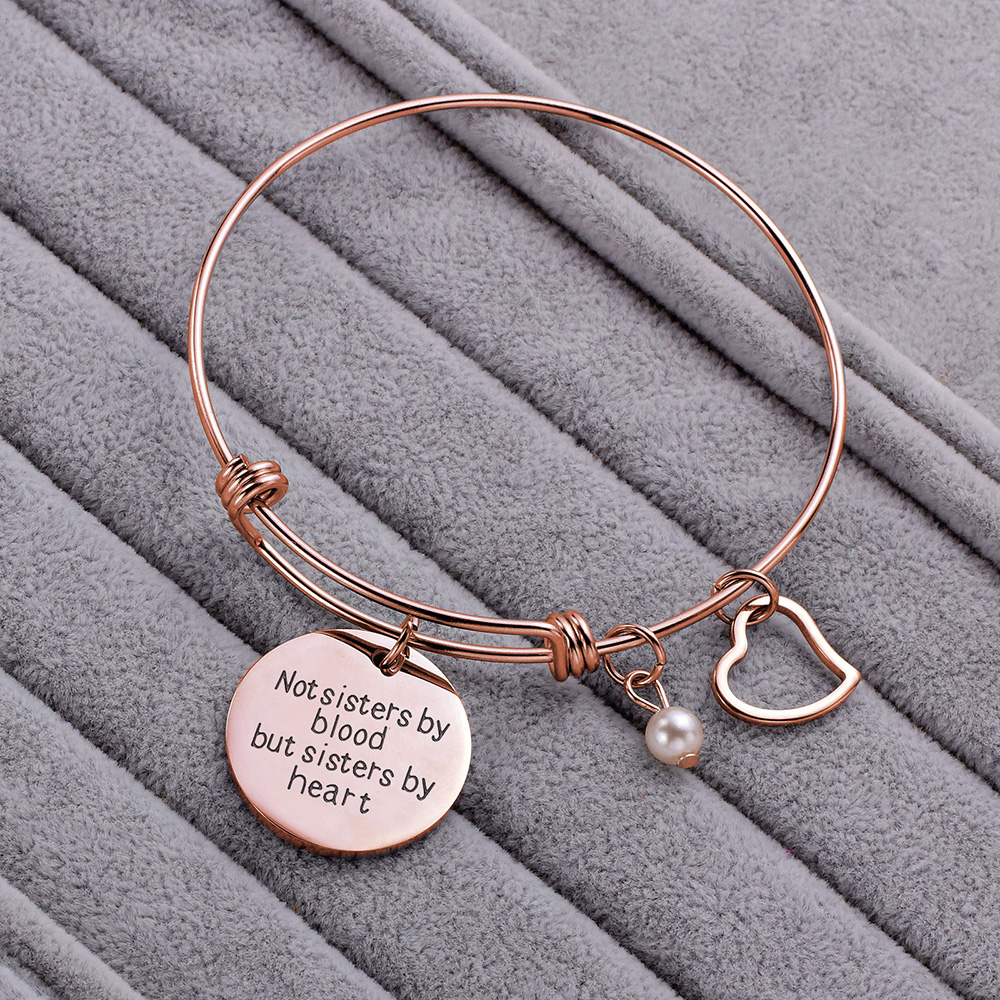 BFF Best Friend Bracelet Gift Rose Gold Friendship Bracelet Heart Charm Engraved Not Sister By Blood But Sister By Heart(China)
