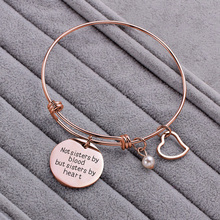 BFF Best Friend Bracelet Gift Rose Gold Friendship Bracelet Heart Charm Engraved Not Sister By Blood But Sister By Heart