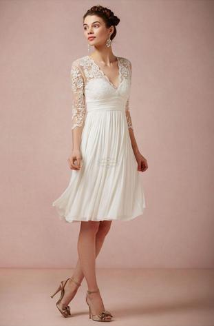 Short Vestido De Noiva 2019 Muslim Wedding Dresses A-line V-neck 3/4 Sleeves Chiffon Lace Beach Boho Wedding Gown Bridal Dress
