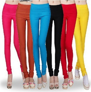 Free shipping new Women candy color leggings high waist pencil pants woman slim skinny legging ladies leggins G0529