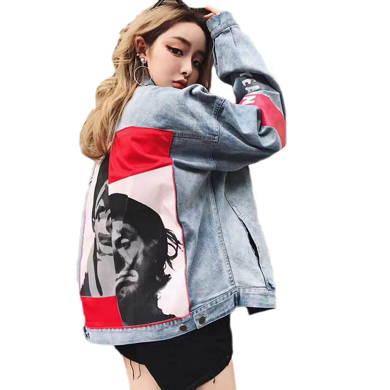 Spliced Printed Denim   Jacket   Loosen Harajuku Coat Women Casual Streetwear   Basic     Jackets   Autumn Winter Outerwear Jean   Jacket