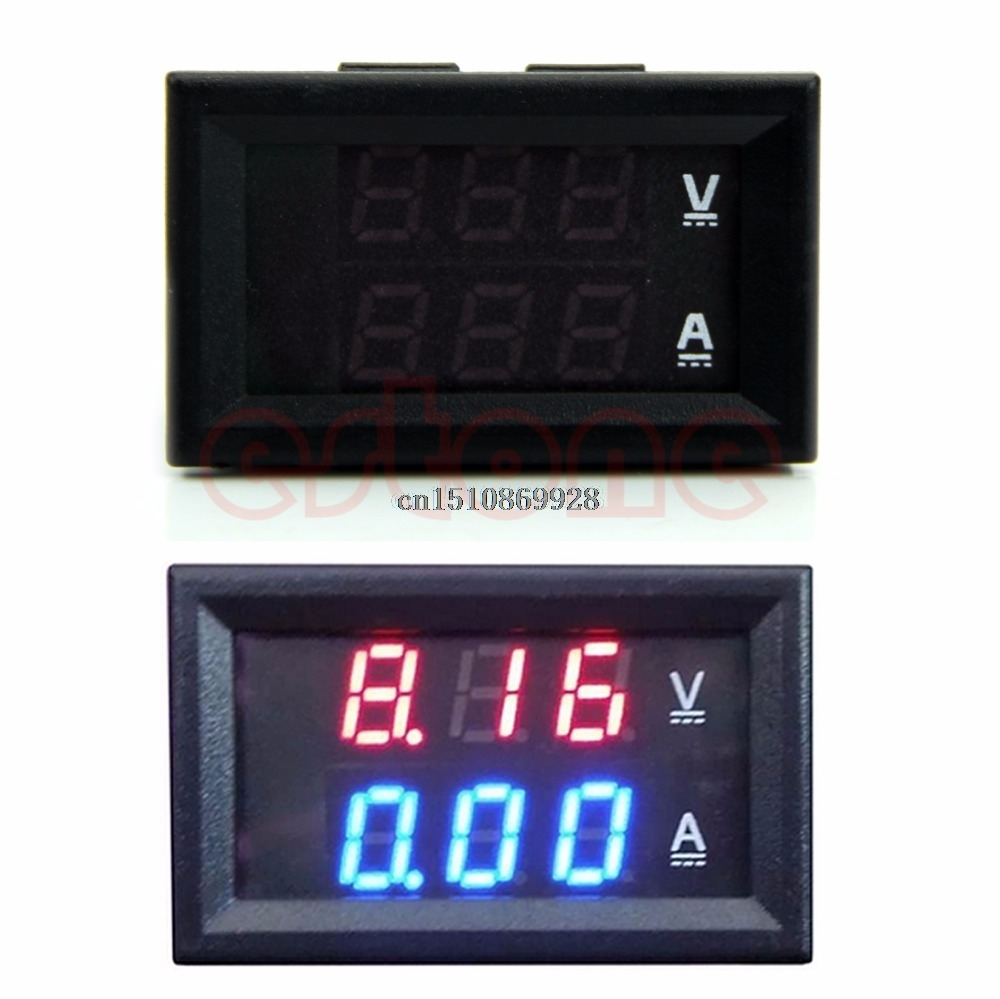 Digital Volt Meter DC 100V 10A Voltmeter Ammeter Blue + Red LED Amp Dual Digital Volt Meter Gauge  цены