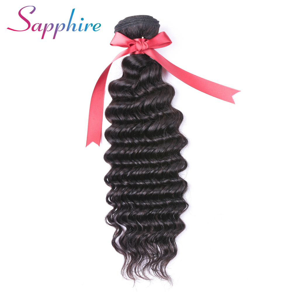 Sapphire Deep Wave Brazilian Hair Weave Bundles Non-Remy Hair Weaving Human Hair Extension 8-26inch 1 Piece Free Shipping