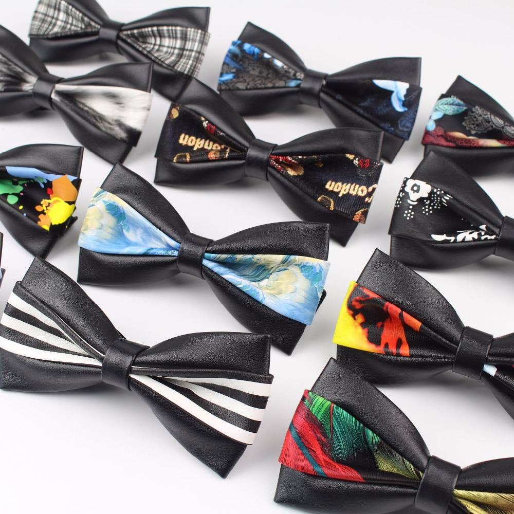 Two Side Classic PU Pattern Leather Ties Butterfly Party Bowtie Black Plush Noble Bow Tie