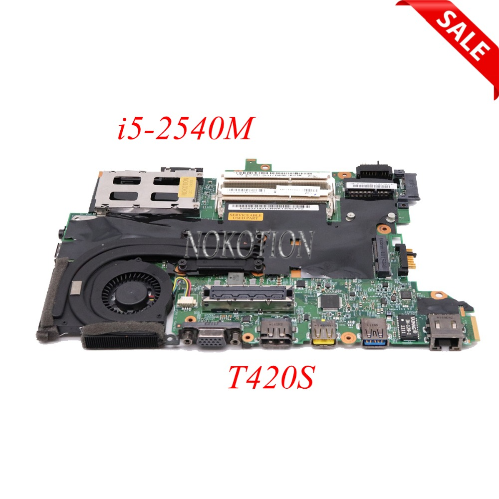 NOKOTION FRU 63Y1921 63Y1725 H0223-3 48.4KF58.031 laptop motherboard For lenovo thinkpad T420S i5-2540M Main board full tested new thinkpad laptop x1 carbon main board i5 3427u mainboard fru 04w3893 all new and tested