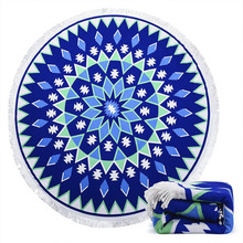 Superfine Fibre Beach Towel Round Shape Bath Towel Allover Print Yoga Mat allover flamingo print ruffle cuff nightdress