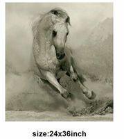 الحرفية غرفة المعيشة جدار اللوحة اليد رسمت لوحات قماش النفط سباق الخيل الحيوانات صورة كبيرة قماش الفن رخيصة 24*36 بوصة