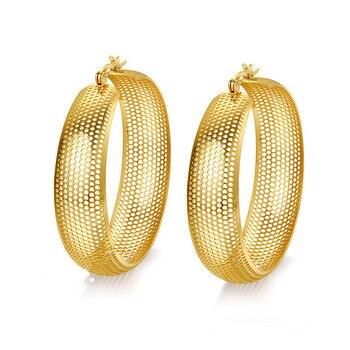 Fashion Gold Colour Hoop Earrings For Women Girl Big Large Hollow Stainless Steel Net Earrings Jewelry Earrings Woman