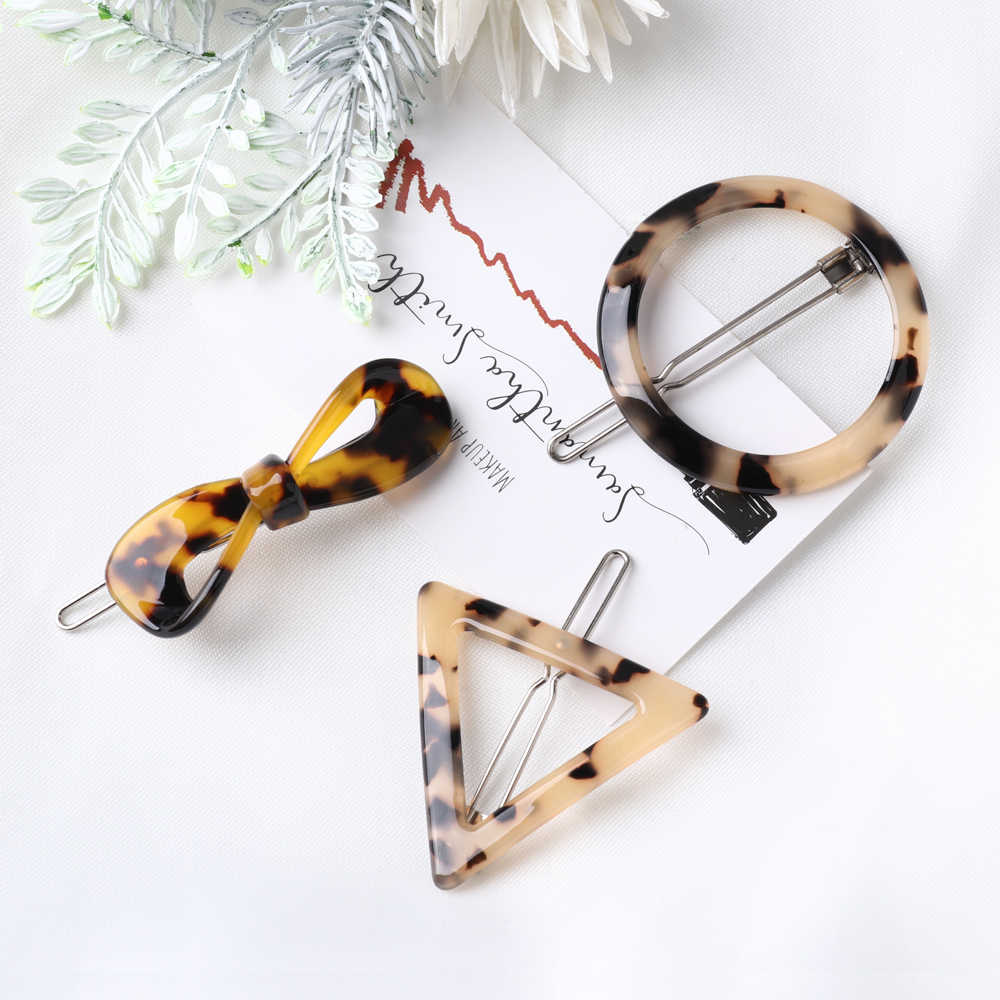 Винтаж Японии Amber Акриловые Leopard Заколки для волос геометрический круглый Треугольники сердце Форма заколки-пряжки для волос для укладки женских волос инструмент