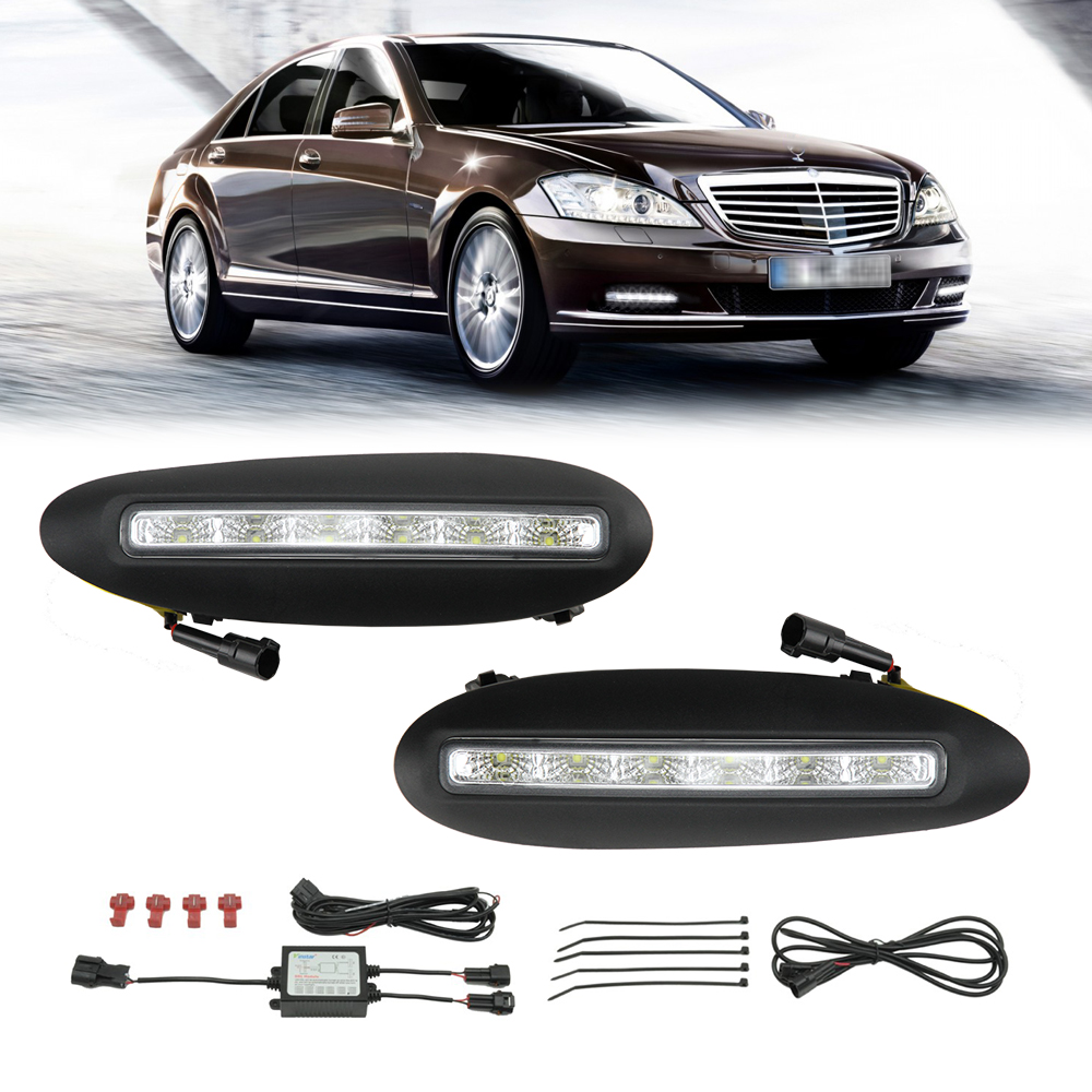 White LED Daytime Day Fog Light DRL Cover For Mercedes Benz W220 S-Class 98-2001 Car Front Bulbs Daytime Running Light 6 led white ip68 day running light for benz e series pair