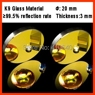 1 pezzo di diametro 20 mm K9 Materiale di vetro a specchio per riflessione laser CO2 con rivestimento dorato per macchina per incisione laser