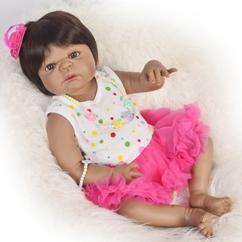 Black dolls reborn 55cm full body silicone reborn baby dolls real alive  Bebes reborn African girl kids toy doll gifts