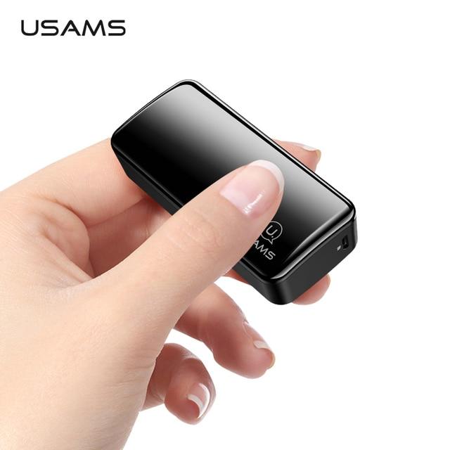 USAMS 2000mAh Ultra Light Mini USB Power Bank Portable 2000mah Powerbank External Battery LED Emergency Light for iPhone Samsung