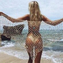Sexy para Mujer Faldas envolventes Fishnet ahuecado ropa de playa parte inferior tejida Bikini cubrir traje de baño encaje sencillo hasta Casual