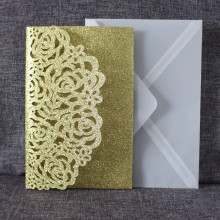 Luxury glitter gold wedding invitations transparent envelop personalized inserts rose laser cutting party pocket invite