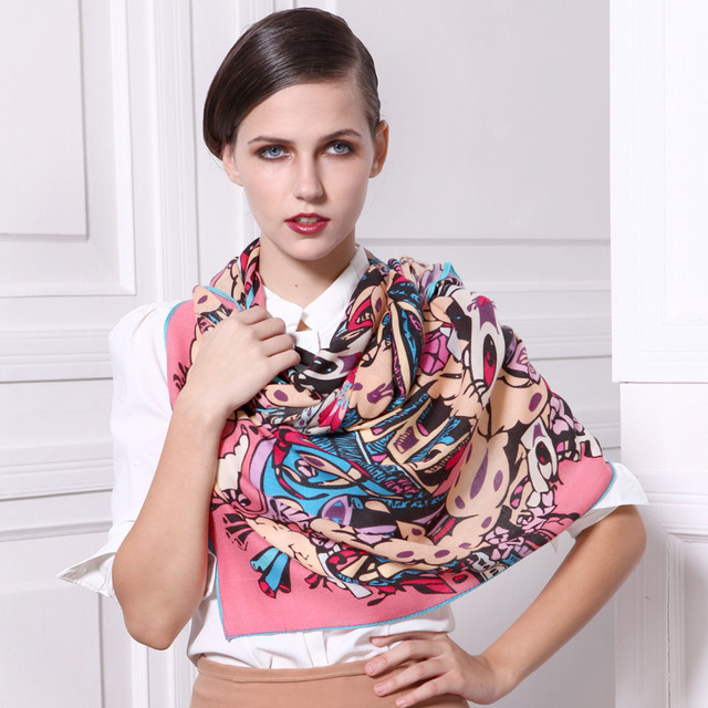 2013 Natural Silk Scarf   wool scarf women's long design quality print scarf doodle