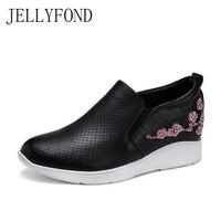 Jellyfond бренд Пояса из натуральной кожи женская обувь на платформе ручной работы Вышивка Стразы Скрытая танкетке повседневная обувь без заст