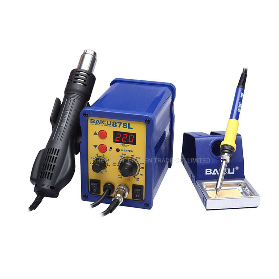 BAKU 878L Hot Air Rework Station with Soldering Iron with Heat Gun and english Manual LED Digital Display