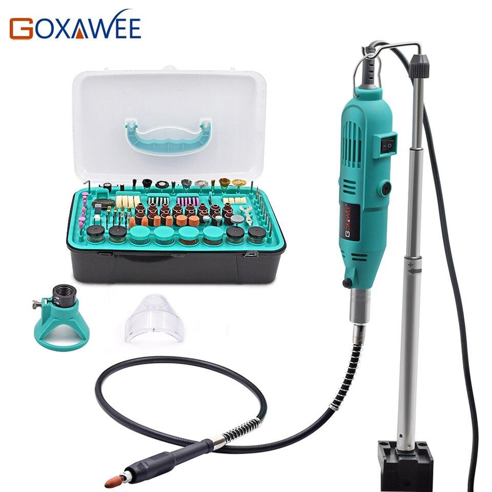 GOXAWEE Électrique Mini Perceuse Outils Outils Rotatifs Accessoires avec Flex Arbre Cintre Pour Dremel Stype Forage Mini Grinder Outil