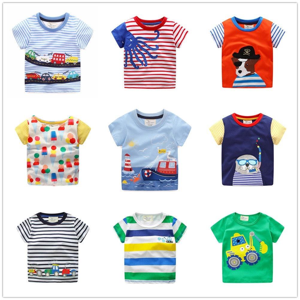 Kids Summer Clothes Boys Shirts for Girls Summer Tops Teens Cartoon Print Tshirt Children Clothing Baby Boys Striped Clothes