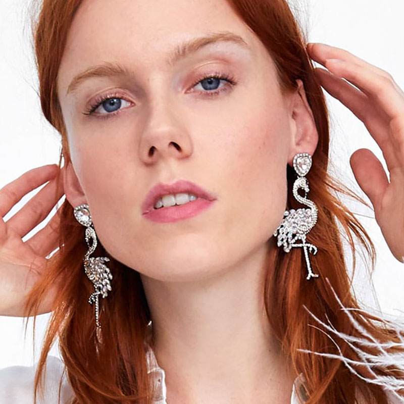 Best lady New Bohemian Crystal ZA Earrings for Women Brand Design Wedding Jewelry Flamingo Flowers Shell Drop Dangle Earrings in Drop Earrings from Jewelry Accessories