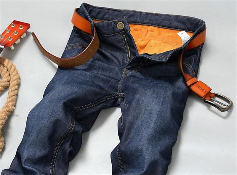 Brand New Mens Fleece Fodrade jeans, Mode Varm jeans Höst Vinter - Herrkläder - Foto 3