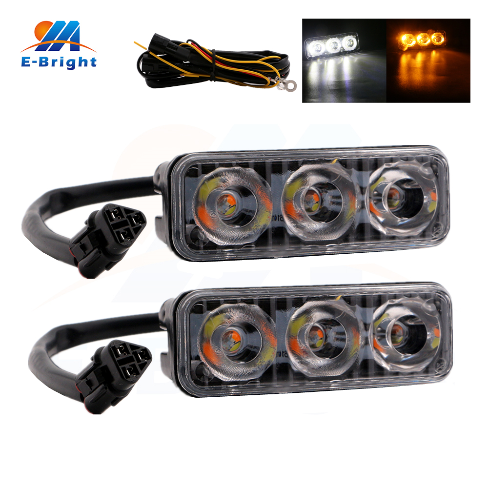 2pcs 9W 12V White/Amber DRL Led Bulb Daytime Running Light Spot Lamp Off Road Driving Warning 4x4 SUV Car Light Free Shipping 2014 new arrival 2pcs lot off road led work light car auto motorcycle 9w refit driving lamp ip67 spot beam round fog lamp