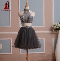 In Stock 2014 Homecoming Dress Two Pieces Gray Tulle Graduation Gown With Rhinestones And High Neck