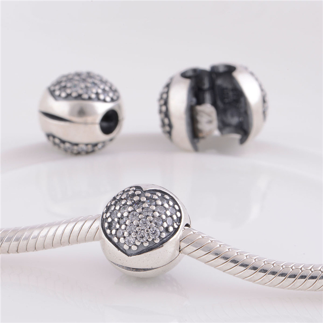a19ba700e Authentic 925 Sterling Silver Pave Heart Clear CZ Clip Beads DIY Craft  Jewelry Fit Original Pandora Charms Bracelet / Pendants