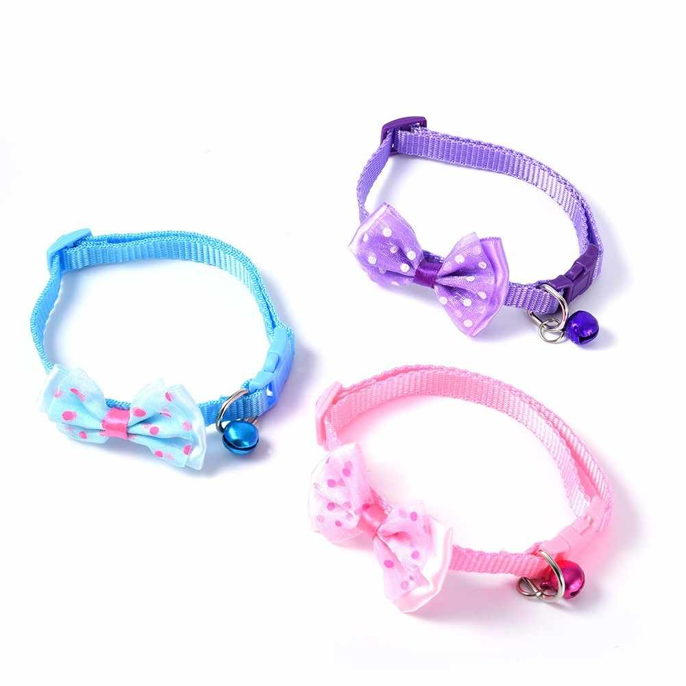 Lovely Breakaway Collars Quick Release Adjustable Pet Collar For Small Pet Dog & Cat Nylon Leashes Necklace With Bell 15 Types