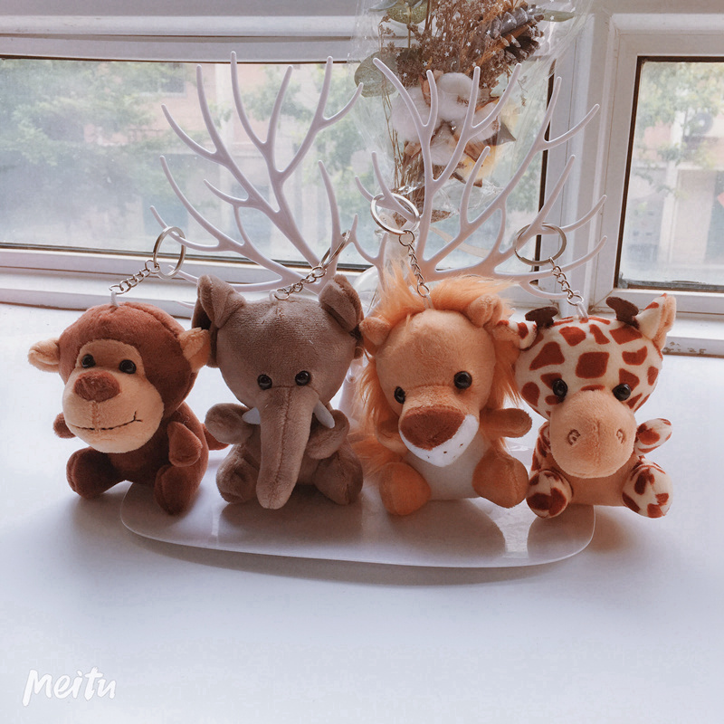 12-20cm Cute Forest Animals Stuffed Doll Plush Jungle Series Animal Lion Tiger Giraffe Elephant Toys Pendant Keychain Kids Gift
