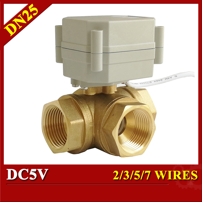 1'' motorized ball valve T port L port 3 way horizontal type DC5V 2/3/5/7 wires electric ball valve for water heating plumbing комплект gap gap ga020fgvpb59