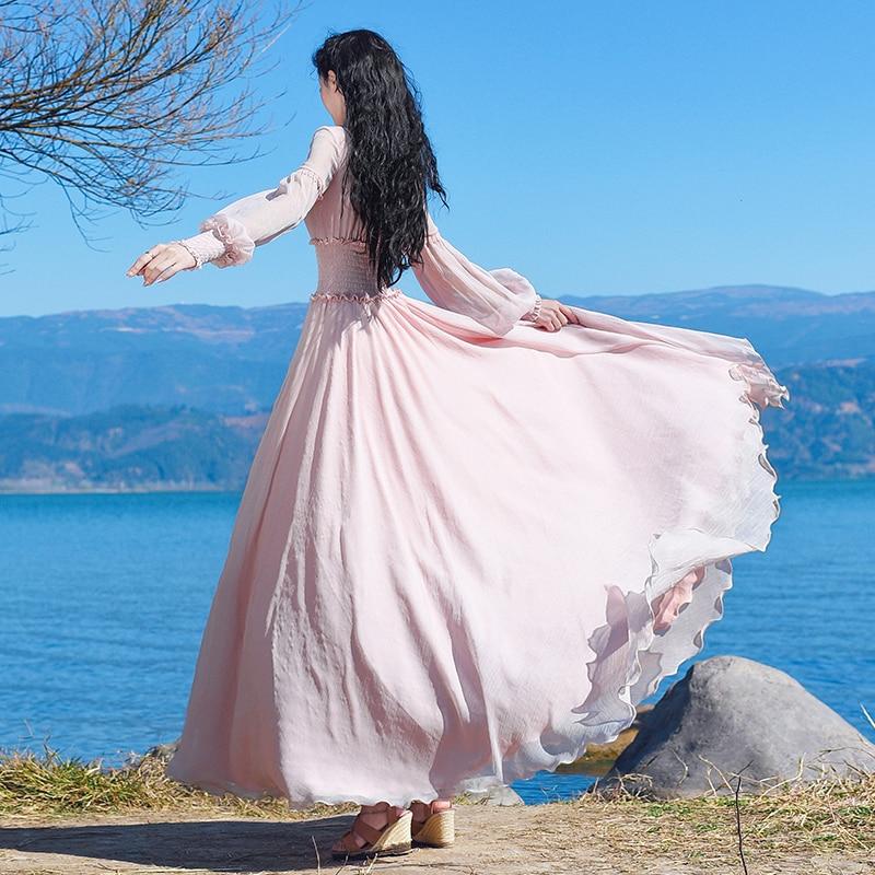 Maxi En Robes Lanterne Soie Mode Shiping De l Sac 2019 Nouvelle S Robe Kelly Boshow Longue Femmes Libre Bohème Mousseline Manches AXxvqwp