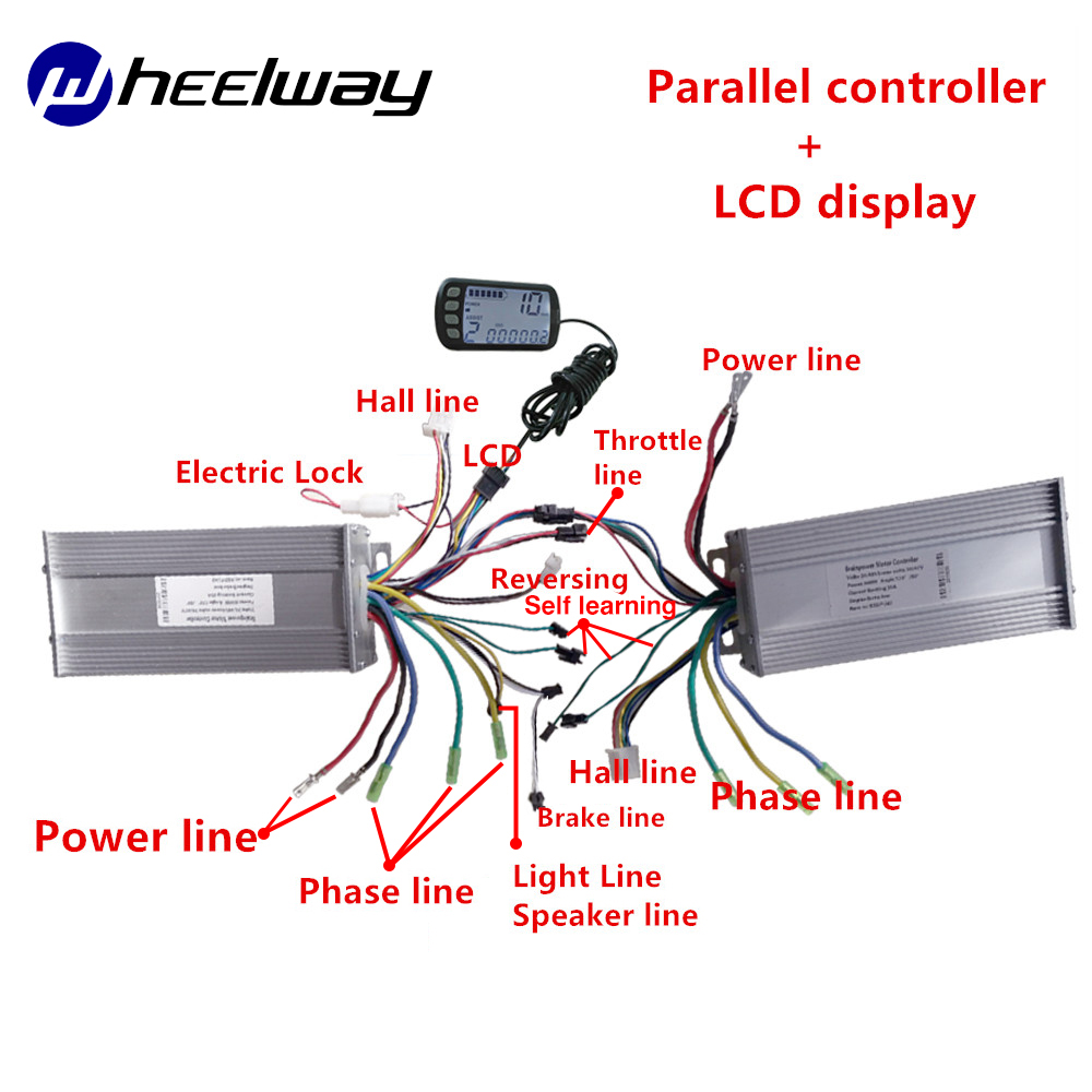 WHEELWAY36V48V 500W 800W1000W Parallel Controller E Bicycle Conversion Kit For Dual Drive Motor BLDC 2 Controller With LCD Ebike